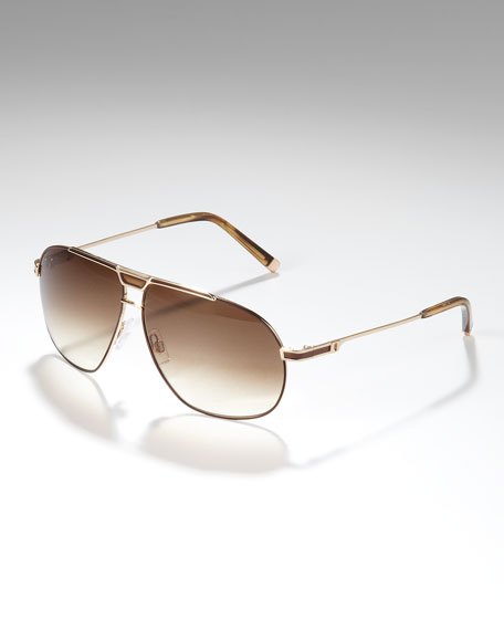 Metal Aviator Sunglasses, Rose Golden