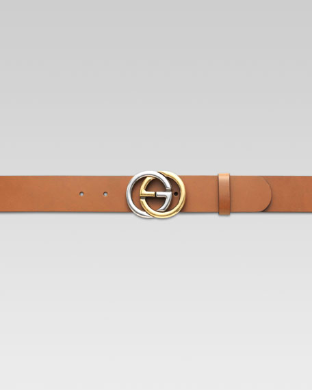 Belt with Two-Tone Interlocking G Buckle, Cuir