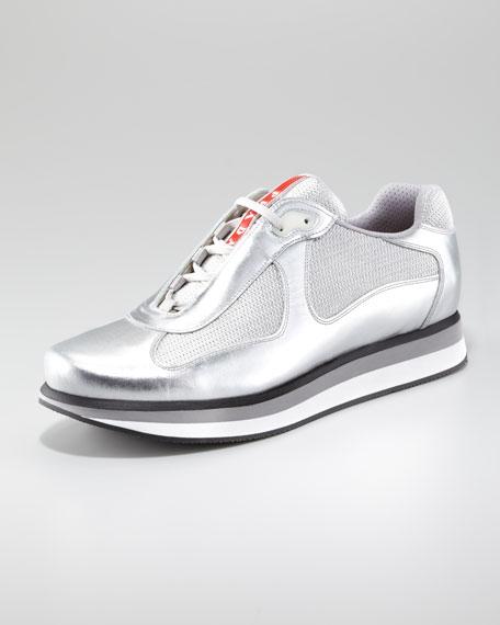 Metallic Sport Sneaker with Micro Sole