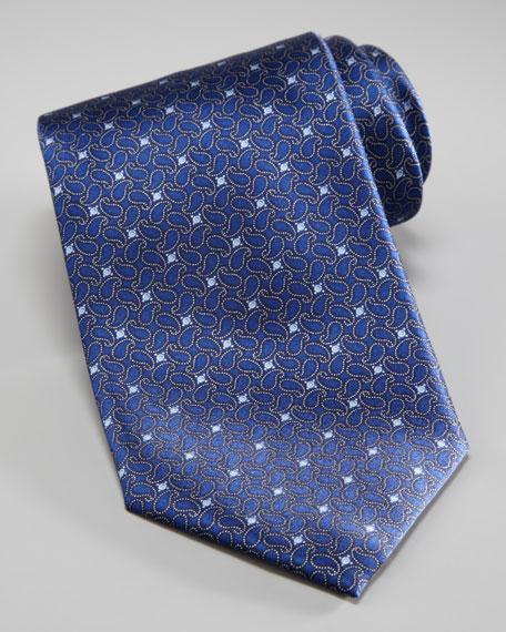 Mini Paisley Print Tie, Blue