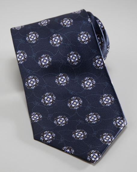 Medallion Print Tie, Navy