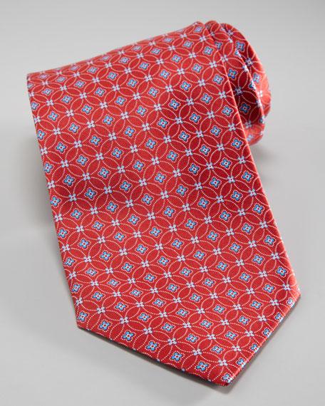 Interlocking Flower Print Tie, Red