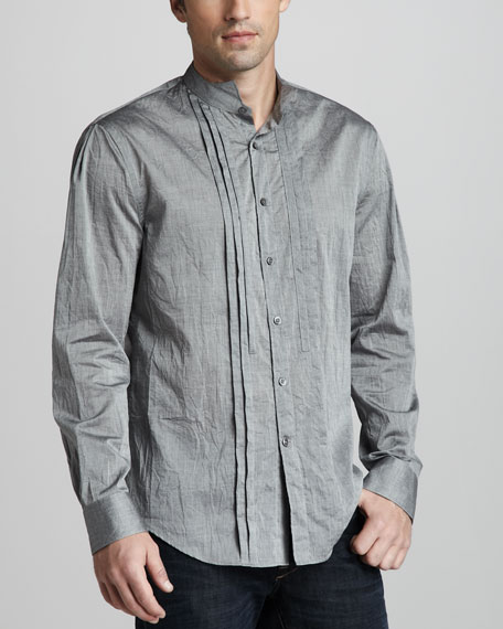 Slim-Fit Pleated Shirt