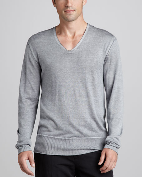 Reverse-Print V-Neck Sweater