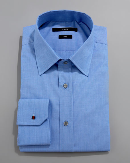 Solid Dress Shirt with Enamel Cuff Button