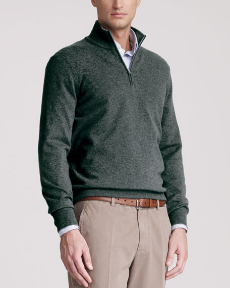 Two-Ply Cashmere Half-Zip Sweater, Auoro