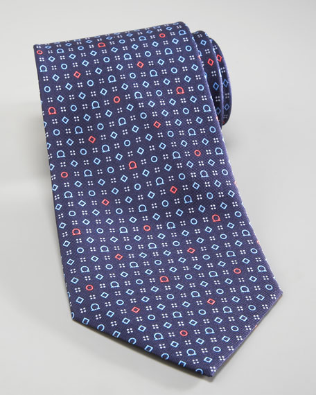 Gancini & Shapes Tie, Navy/Blue/Red