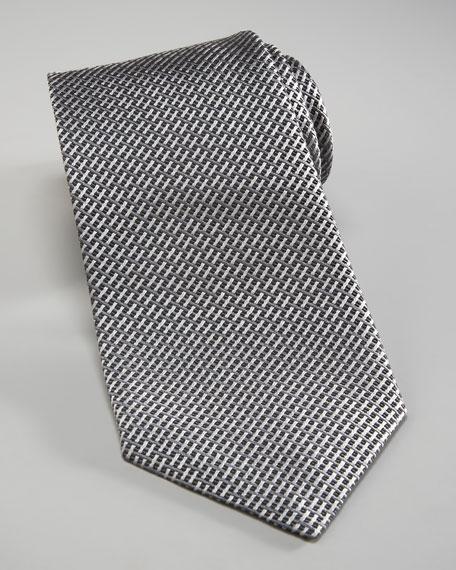 Basketweave Silk Tie, Gray