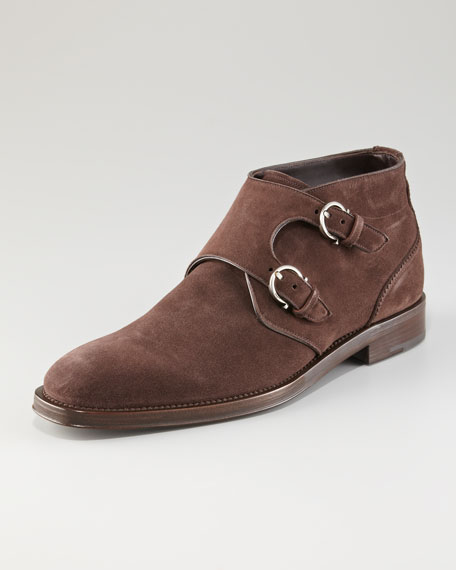 Arezzo Double-Gancini Monk Boot, Brown Suede