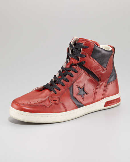 JV Weapon Leather Hi-Top, Red/Black