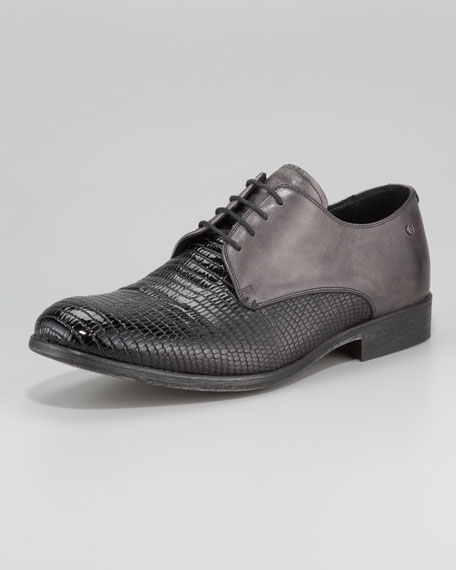 Lizard-Embossed Lace-Up Loafer