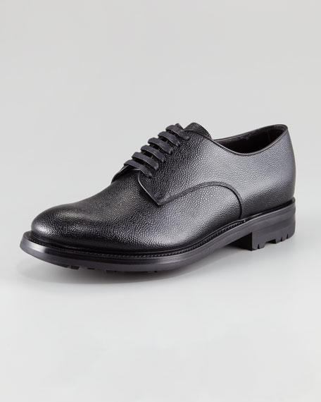 Pebbled Spazzolato Lace-Up