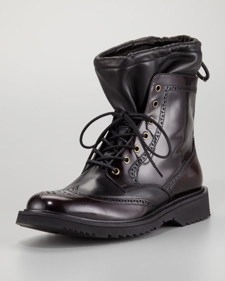 Leather Sock Wing-Tip Boot