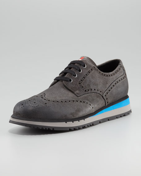 Waxed Suede Wing-Tip Sneaker