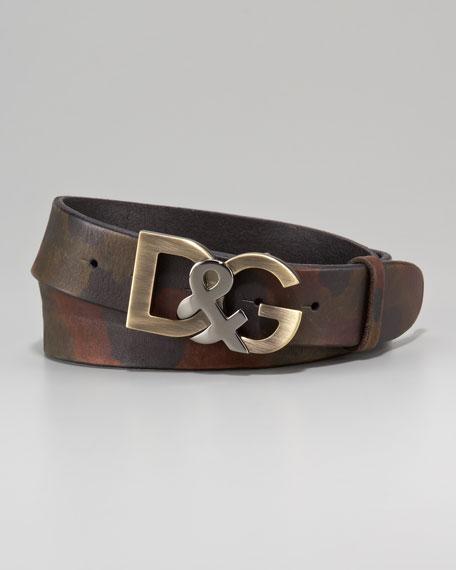 D&G Metal Logo Belt, Camo