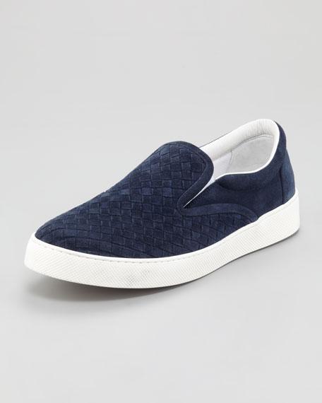 Woven Suede Sneaker, Navy