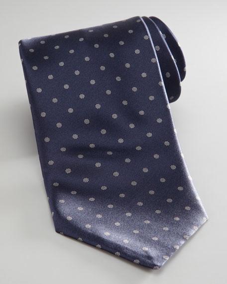 Dotted Silk Tie, Navy
