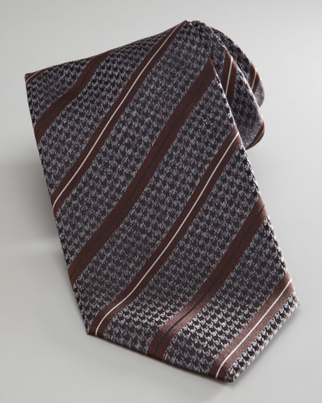 Houndstooth Striped Tie
