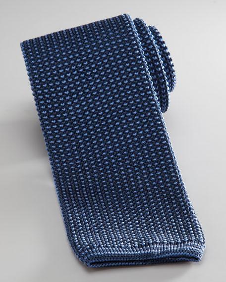 Knit Silk Tie, Blue