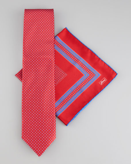Dots Tie & Pocket Square Set, Red