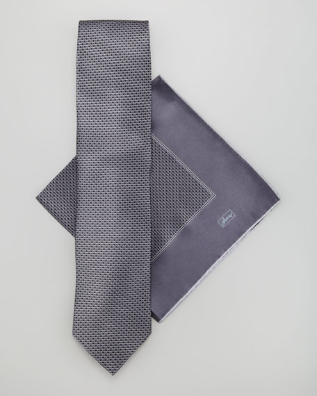 Neat-Print Tie & Pocket Square Set, Gray