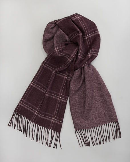 Large Check Scarf, Purple