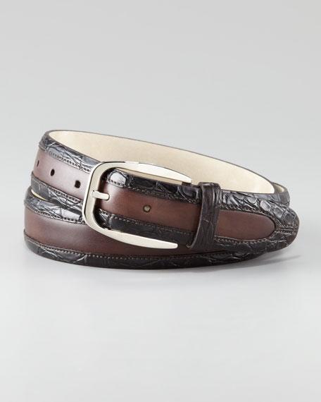 Crocodile-Trimmed Belt
