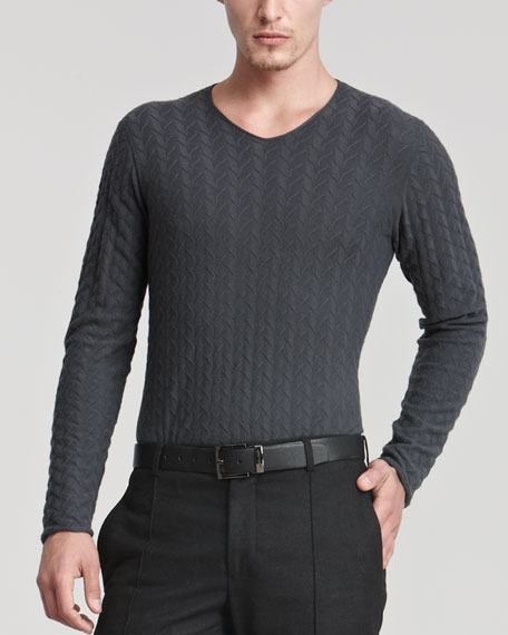 V-Neckline, Broken Herringbone Sweater, Gray
