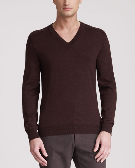 Ribbed-Shoulder Sweater