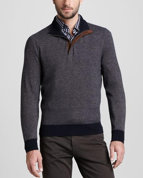 Quarter-Zip Birdseye Sweater, Navy/Cognac