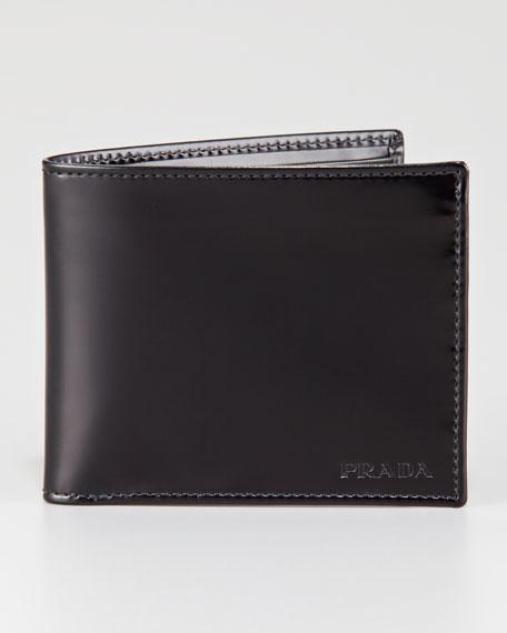 Spazzolato Hip-Fold Wallet, Black