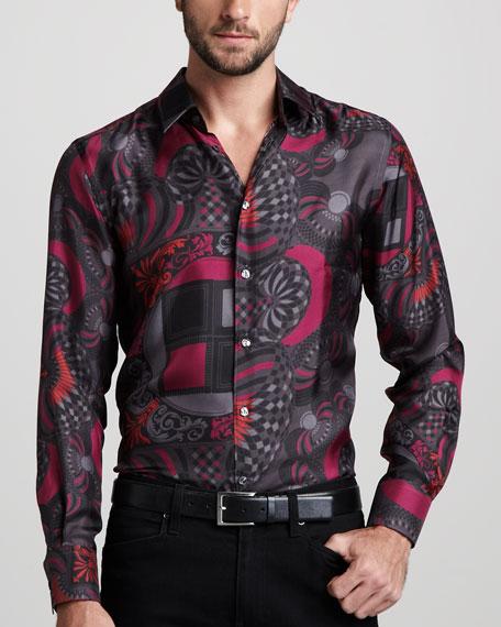 Scarf-Print Silk Shirt