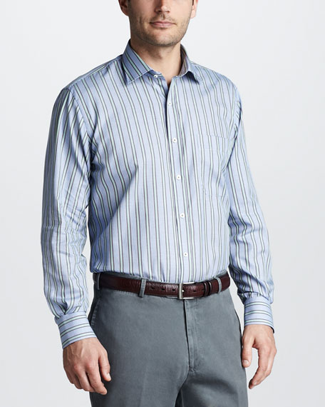 Striped Sport Shirt, Navy
