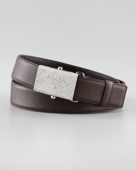 Printed-Buckle Saffiano Leather Belt, Brown