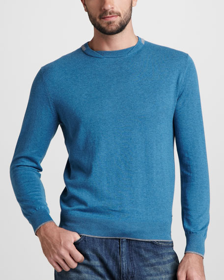 Crew-Neck Knit Sweater, Teal