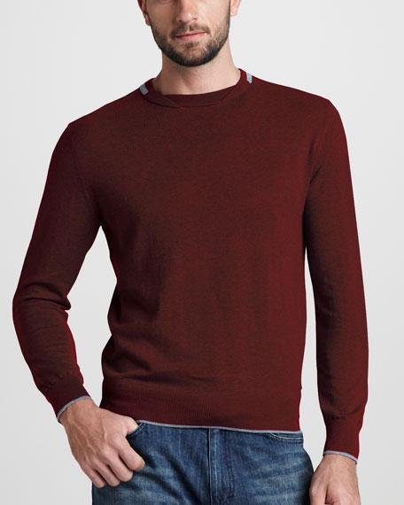 Crewneck Knit Sweater, Burgundy