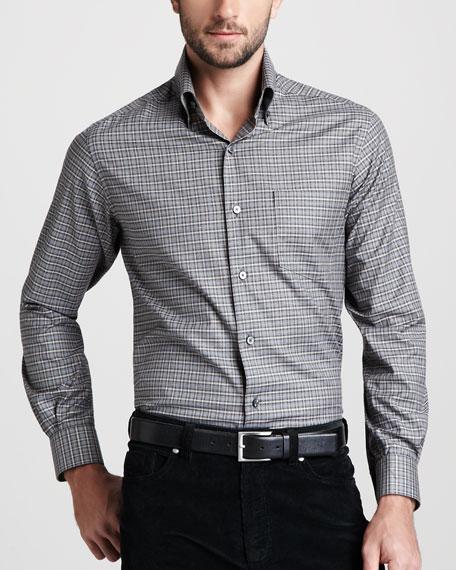 Check Sport Shirt, Gray/Camel