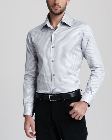 Fine-Stripe Sport Shirt