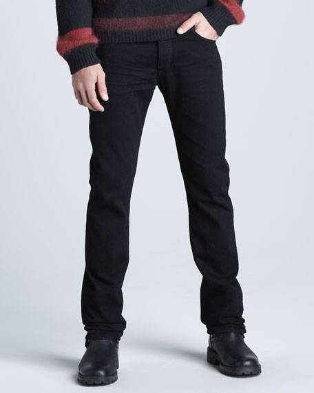 Black Resin-Treated Jeans
