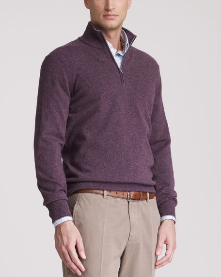 Two-Ply Cashmere Half-Zip Sweater, Mirtillo