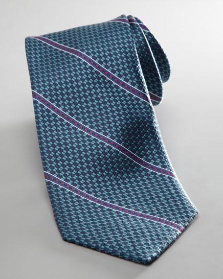 Texture-Stripe Silk Tie, Navy