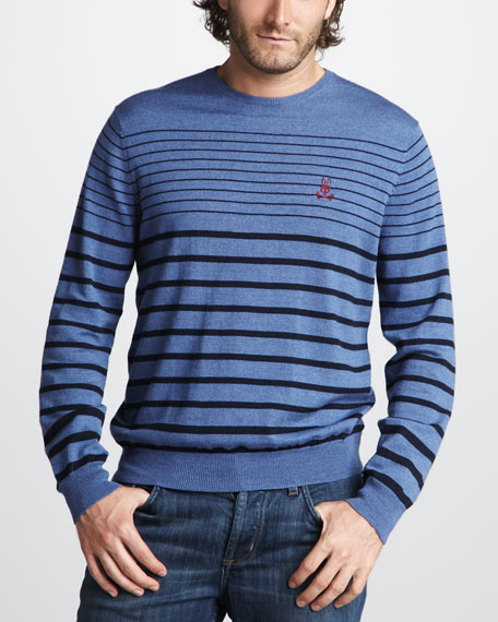 Striped Merino Sweater, Denim/Navy