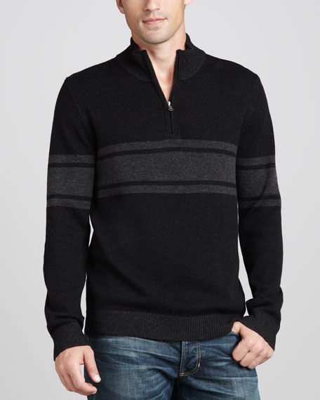 Striped Mock-Neck Sweater