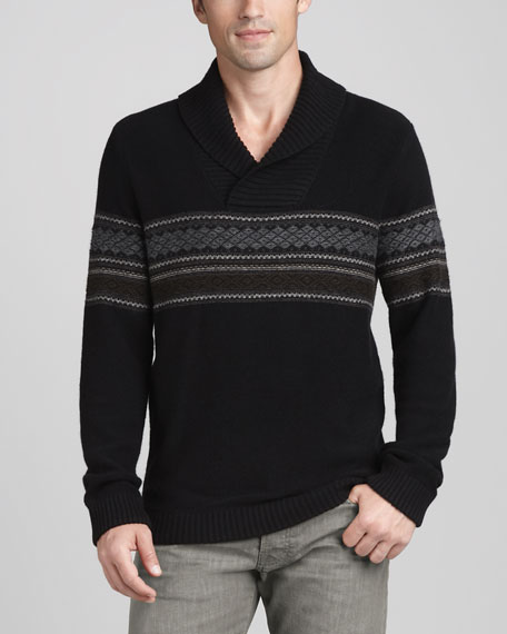 Shawl-Collar Fair Isle Sweater