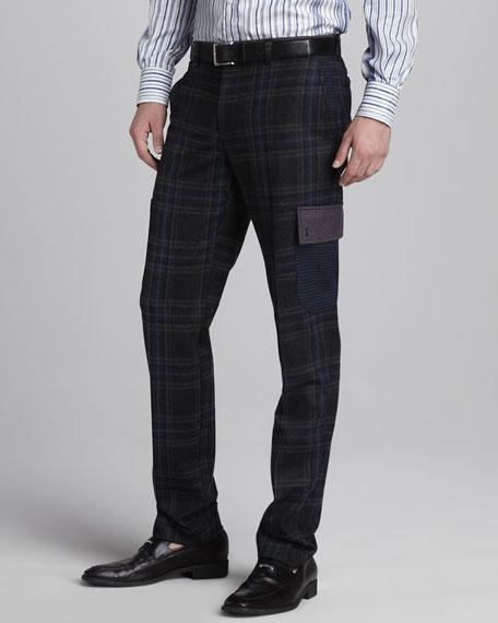 Plaid Wool-Blend Cargo Pants