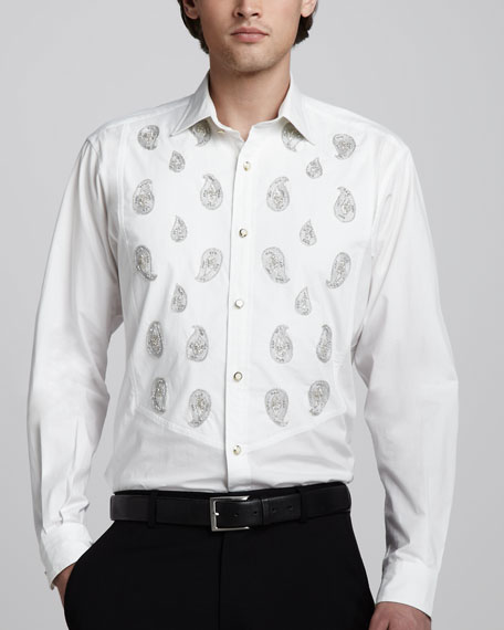 Paisley-Embroidered Shirt