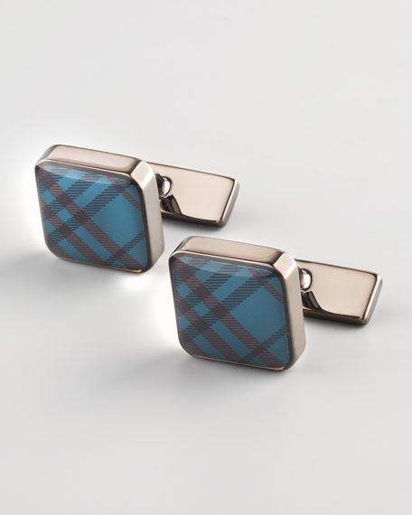 Check Cuff Links, Indigo