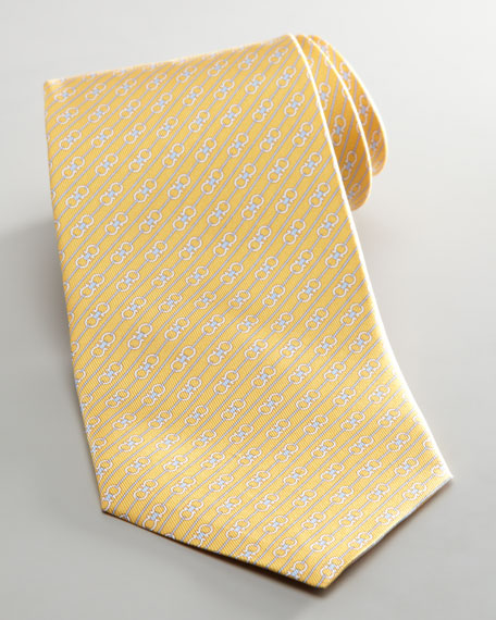 Diagonal Double Gancini Tie, Yellow