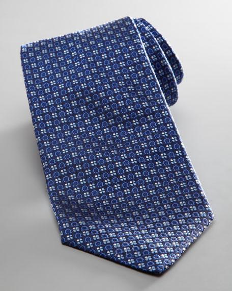 Gancini Floral Woven Tie, Blue