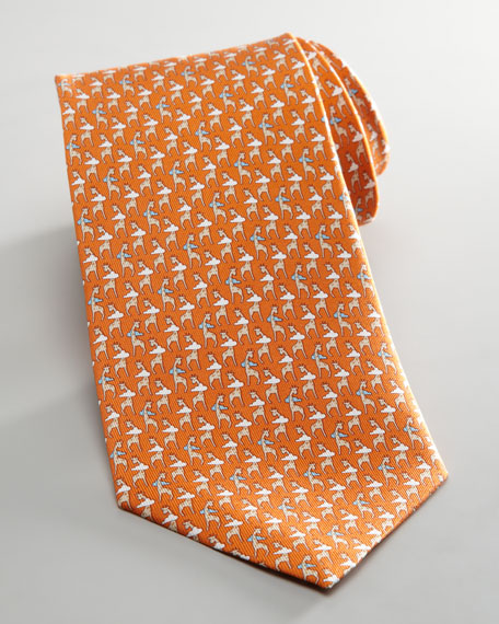 Giraffe and Cloud Tie, Orange